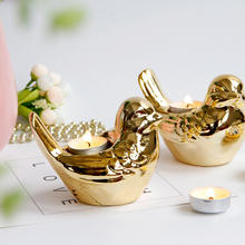 PINNY Nordic Gold Plated Bird Candlestick Animal Ceramic Candle Holders Wedding Decorations Home Decoration European Crafts