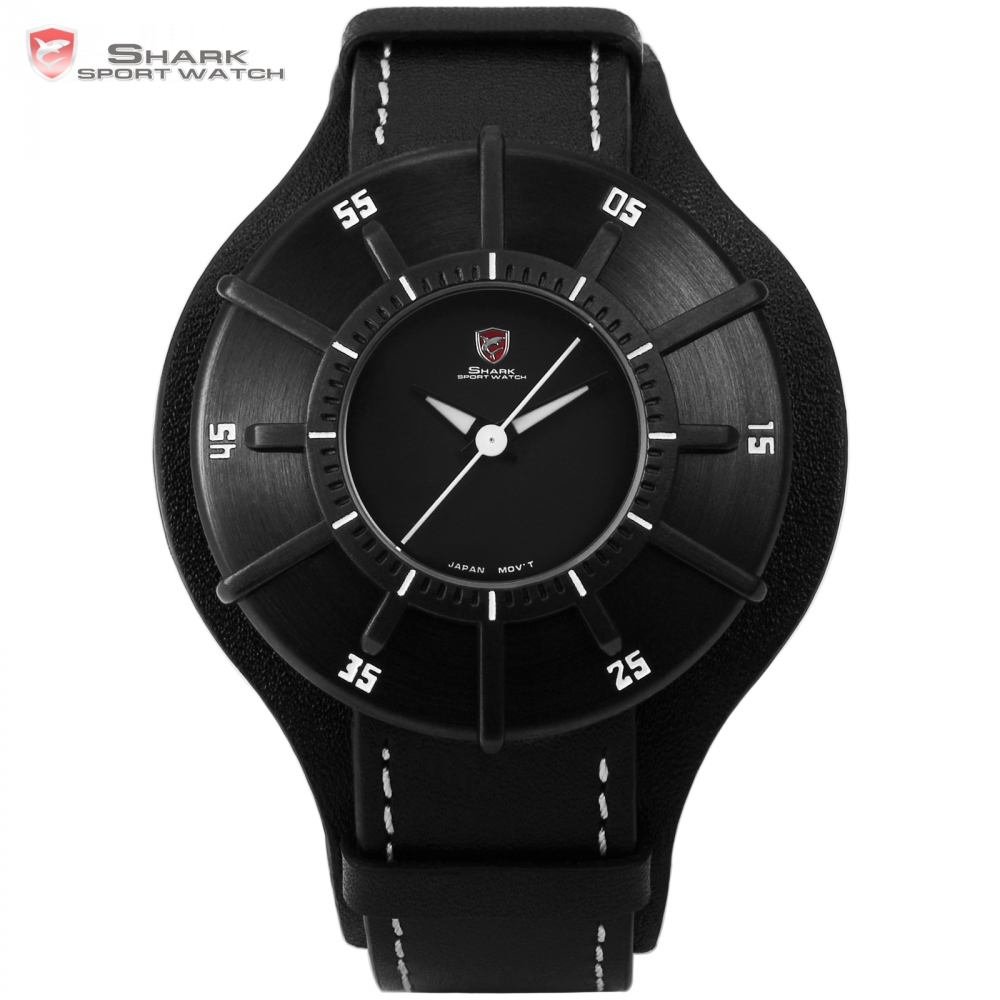 Silky Shark Sport Watch 3 D Stylish Black Top Brand Men Sundial Waterproof Clock Real Leather Wrist Watches Box Hombre / SH484 splendid brand new boys girls students time clock electronic digital lcd wrist sport watch