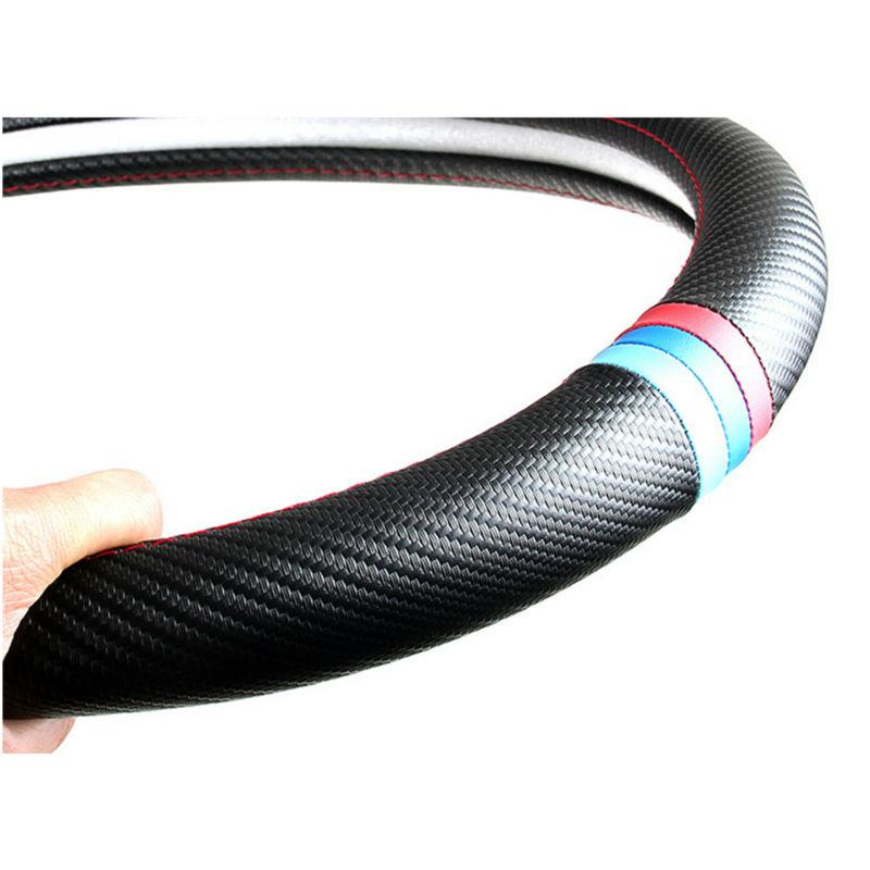 Prix pour 38 cm Couverture De Volant de Voiture Intérieur Voiture Style Fiber De Carbone pour BMW X1 X3 X5 X6 E36 E39 E46 E30 E60 E90 F30 320i 325i 330i