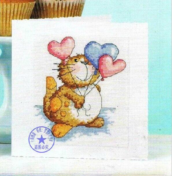 FREE Shipping Popular DIY Cross Stitch Greeting Cards Birthday Thanksgiving Cat Kitty