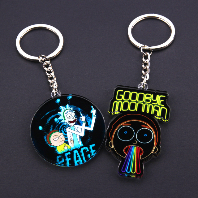 Cute Anime Cartoon Rick And Morty Keychain Acrylic Key Chain Women and Men Kids Key Ring Gift Porte Clef 4