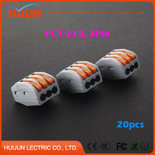20pcs lots PCT 213 222 413 3 Pin Wire Connector Universal Junction Conductor Terminal Push Reuseable