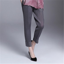 2019 four seasons high-end fashion miyak pleated pants loose waist large size casual harem black wild