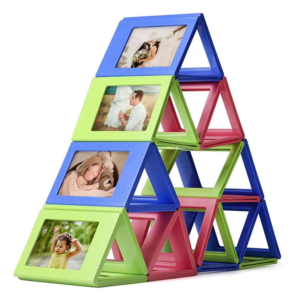 Mini 3-inch Combination Polaroid Photo Frame Magnetic Building Blocks Assembly Style Photo Holder Table Decoration