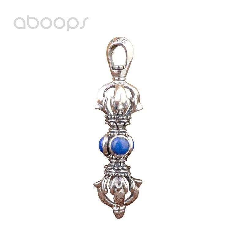 Vintage 925 argent Sterling bouddhiste Vajra Dorje collier pendentif avec Lapis Lazuli pour hommes femmes livraison gratuite