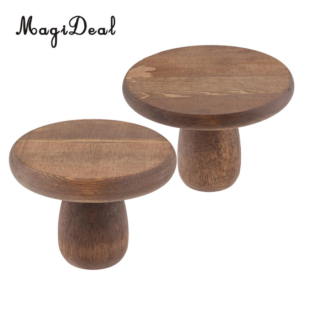 Set of 2 Handmade Wood Cake Stand | Round Cupcake Holder | Wooden Dessert Display Plate for Birthday Wedding Engagement Party