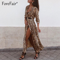 Forefair Shirt Dress Snake Print Vintage Women Clothes 2019 Casual Elegant Buttons Long Sleeve Summer Snakeskin Dress Vestidos