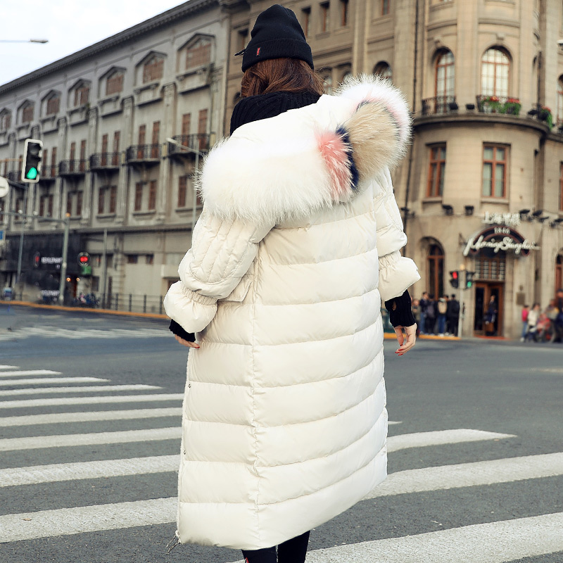 Past Knee Long Coat Large Fur Collar Jacket Loose Thick Winter Coat Women Fashion Down Jacket 2017 New Tide Wide-waisted Casual