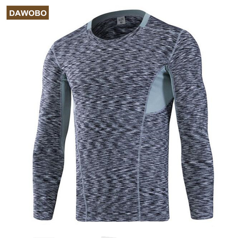 DAWOBO Brand Mens Compression Tights T Shirt Camouflage jogges Bicycle Fitness tees Long Sleeve Moisture Wicking Quick-drying