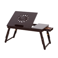 53 см портативный складной Подсолнух гравировальный узор Регулируемая бамбуковая компьютерная кровать стол сандалии деревянный ПК стенд н...