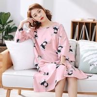 Summer Nightdress Oversized Nightgown Round Neck Sleepwear Animal Prints Half Trumpet Sleeve Homewear 4XL 5XL 6XL for Women