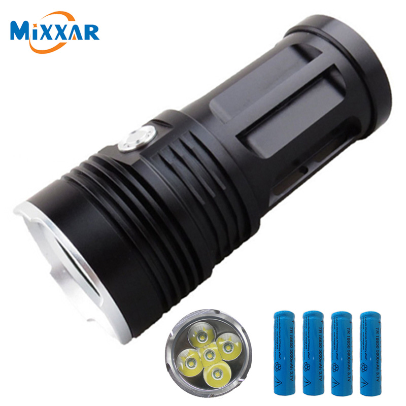 zk30 MI-5 10000LM Torch 5x Cree XM-L T6 Led Flashlight Tactical Torch 4x18650 5000mAh Battery Can be used for Camp Hunting new klarus xt11gt cree xhp35 hi d4 led 2000 lm 4 mode tactical led flashlight free usb port and 18650 battey for self defence