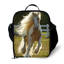 Horse Print Kids Lunch Bag Durable Insulated Lunchbox Small Black Box for Children Boys Customized cooler