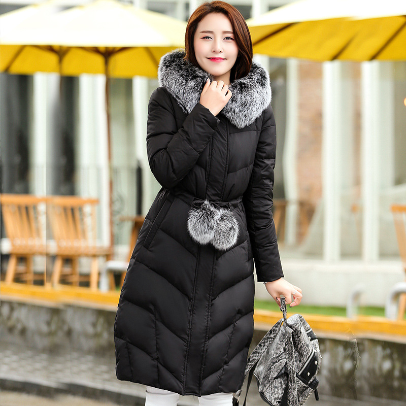 Women Winter Jacket 2017 New Fur Collar Long Hooded Coat Parka Women Thickening Super Warm Padded Coats Winter Jacket 2017 winter new clothes to overcome the coat of women in the long reed rabbit hair fur fur coat fox raccoon fur collar