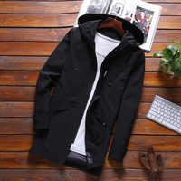 KH Men's Fashion Spring and Autumn Hooded Jacket coat Mens Slim Korean Windbreaker Casual Long Trench Outerwear Man coat Jaqueta