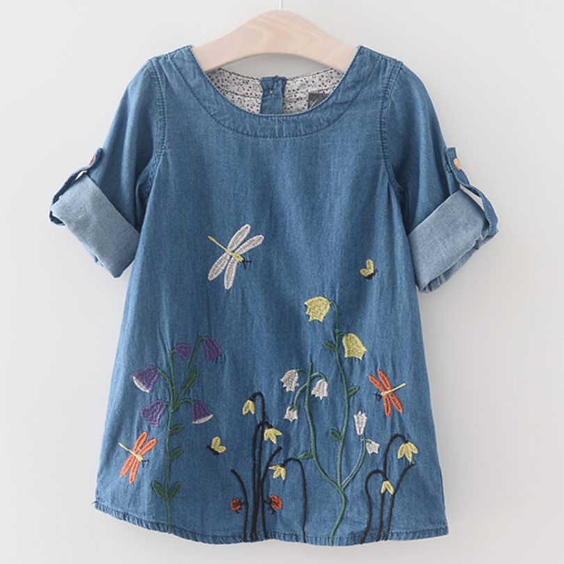 Girls Dress 2018 New Summer Style Kids Exquisite Clothes Embroidery Dress Floral Print Girls Clothing Children Dress