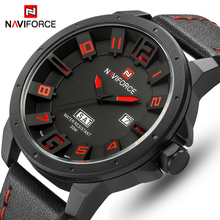 NAVIFORCE Luxury Brand Military Watches Men Quartz Analog 3D Face Leather Clock Man Sports