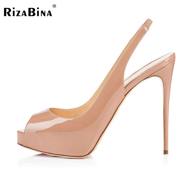 RizaBina Brand New Women Summer Sandals Ladies Sexy Open Toe High Heel Sandals Back Strap Party Shoes Woman Size 35-46 B094