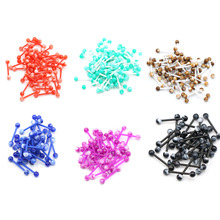 10pcs/lot Plastic Tongue Piercing Barbell Bars Rings  Punk Fashion Body Jewelry For Women