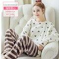 Bonito Mulheres Flanela Pijamas Pijamas Velo Coral Homewear Plus Size Pijamas Mulheres Sleepwear Nighties Pijama de Flanela Doce 273