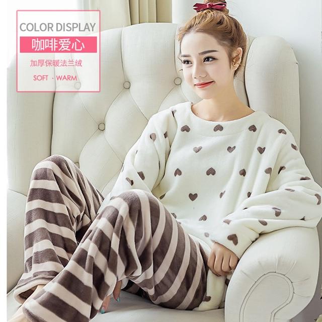 Cute Women Flannel Sleepwear Pajamas Coral Fleece Homewear Big Size Pajamas  Women Sleepwear Sweet Flannel Nighties Pajama 17a73b414a