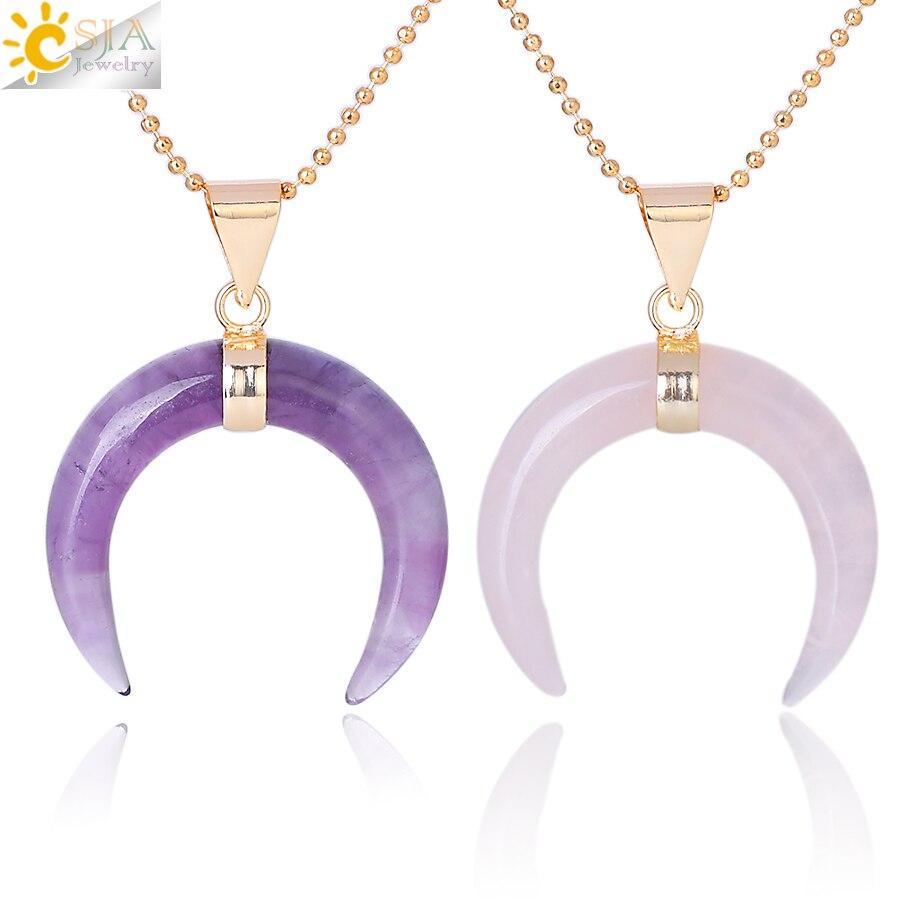 fc1d422a600f CSJA piedras naturales Luna Media luna collares colgantes cristal púrpura cuarzo  rosa piedra blanca oro Color Reiki mujeres joyería F306