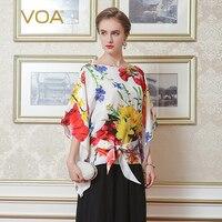 VOA 2018 летнее китайское Стиль Цветочный принт шелковая рубашка плюс Размеры 5XL Повседневное шнуровке Для женщин топы рукав «летучая мышь» оф