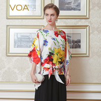 VOA 2018 Summer Chinese Style Floral Print Silk Shirt Plus Size 5XL Casual Lace up Women Tops Bat Sleeve Office Blouse B2160