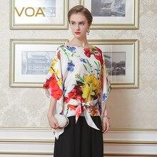 VOA Silk Casual Summer Women Blouses Special Design O-Neck Batwing Sleeve Nine Quarter Sleeves Blusas Femininas B2160