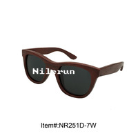 luxury grey polarized lenses red wood frame sunglasses