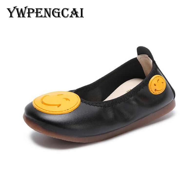 #21-35 yürümeye başlayan Kız Ayakkabı Bahar Çocuklar Loafer'lar düz elbise ayakkabısı Slip-on Moccasins Yumuşak PU Deri Kız Ayakkabı pembe, beyaz, Siyah