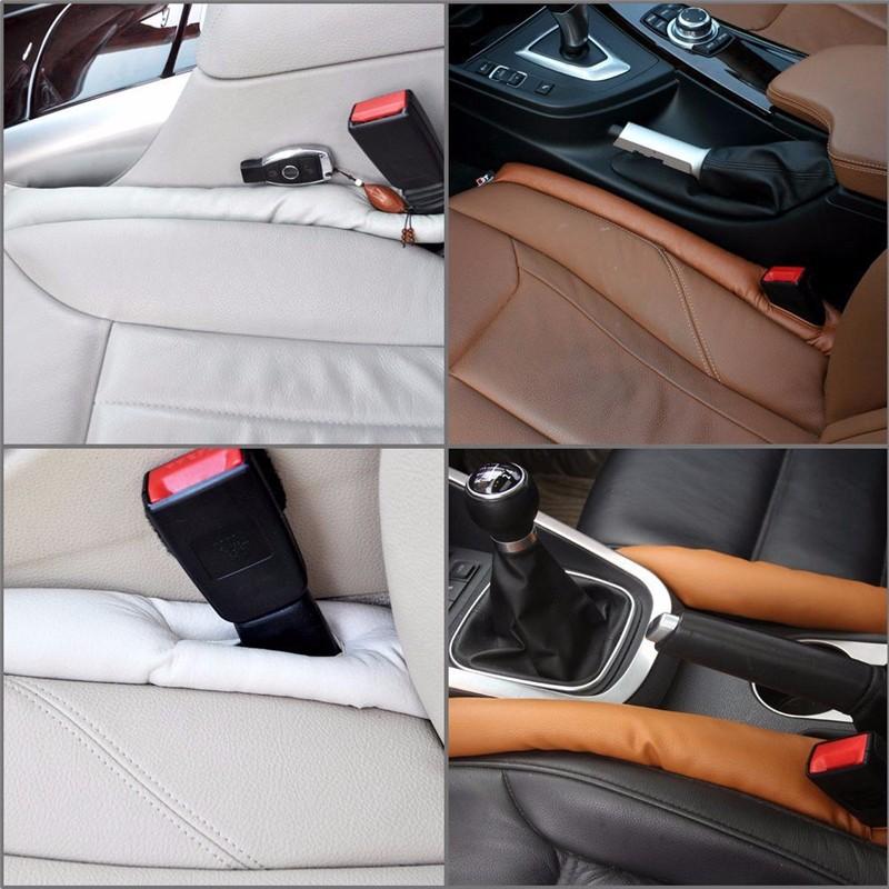 2x Grey PU Leather Truck Car Seat Gap Filler Soft Pad Drop Stop Holster Blocker 2