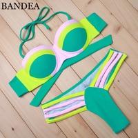 2015 Sexy Fashion Women Push UP Bikini Brazilian Patchwork Swimwear Neon Color Bathing Suits Swimsuit Biquini