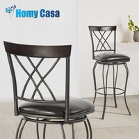 HOMY CASA Metal dining chair New classical style Barstool with Metal Frame and PU cover Seat for dining room living room
