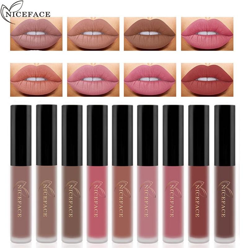 NICEFACE 12 Colors Set Makeup Matte Lipstick Lip Gloss Pencil Beauty Long Lasting Lip Coloring Cosmetic Nude Makeup 3concept eyes 4 pen style moisturizing lipstick lip gloss pink