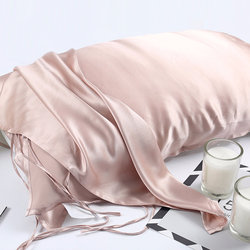 19 Momme 100% Natural Mulberry Silk Pillowcase for Hair & Facial Beauty Single Size Pure Color Strap Tied Pillow Towel