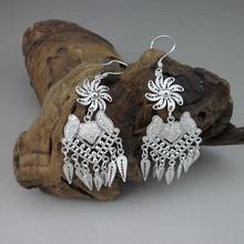 999 Sterling Silver Bohemian Earrings Tassels Drop Earing Luxury Brand Jewelry Women Statement Chinese Ethnic Handmade Jewelry цена