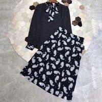 Весна 2 шт комплект Для женщин модная блуза и юбка комплект Для женщин блуза в горошек и удлиненная юбка высокое качество юбка костюм