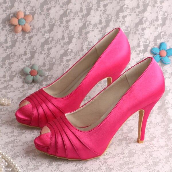 ФОТО Wedopus MW1491 Elegant Fuchisa Shoes Women High Heels Shoes Satin Dropship