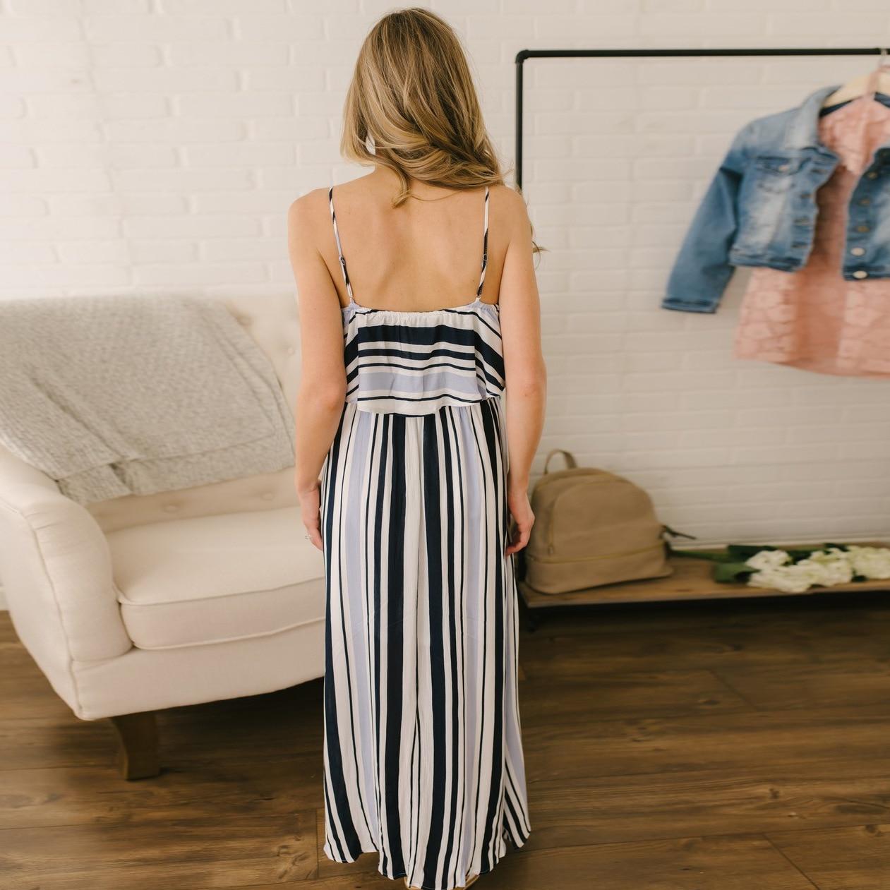 Women Summer Dress 2019 Boho Sexy Long Dress Casual Loose Sundress Ruffles Backless Striped Floor Length Beach Dress White Tunic in Dresses from Women 39 s Clothing