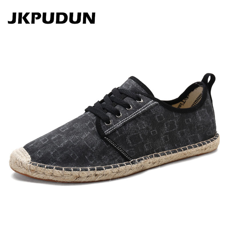 JKPUDUN Summer Canvas Shoes Men Plimsolls Designer