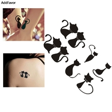 AddFavor 5PCS Love Black Cat Women Waterproof Temporary Tattoo Designs Bady Art Sticker Accessories Fake Makeup Paste Paper Tips