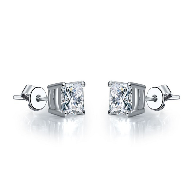 2 Ct Piece Princess Cut Four Gs Sona Simulate Diamond Stud Earrings Best Wedding Jewelry Anniversary Day Gift For Her In From