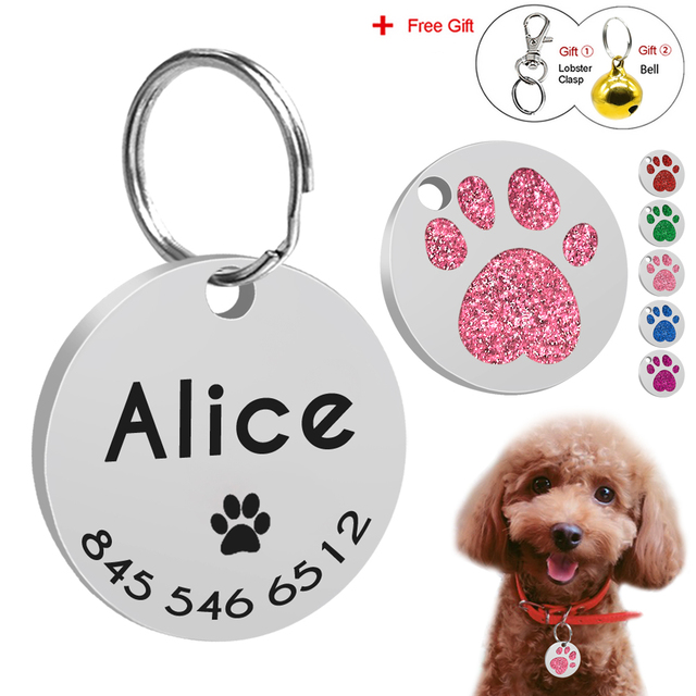 personalized dog id tag engraved cats dog tags customized round name