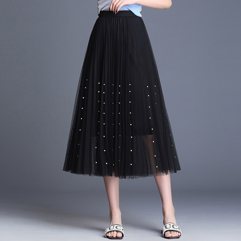New 2019 Spring Summer Skirts Womens Beading Mesh Tulle Skirt Women Elastic High Waist A Line Mid Calf Midi Long Pleated Skirt 33