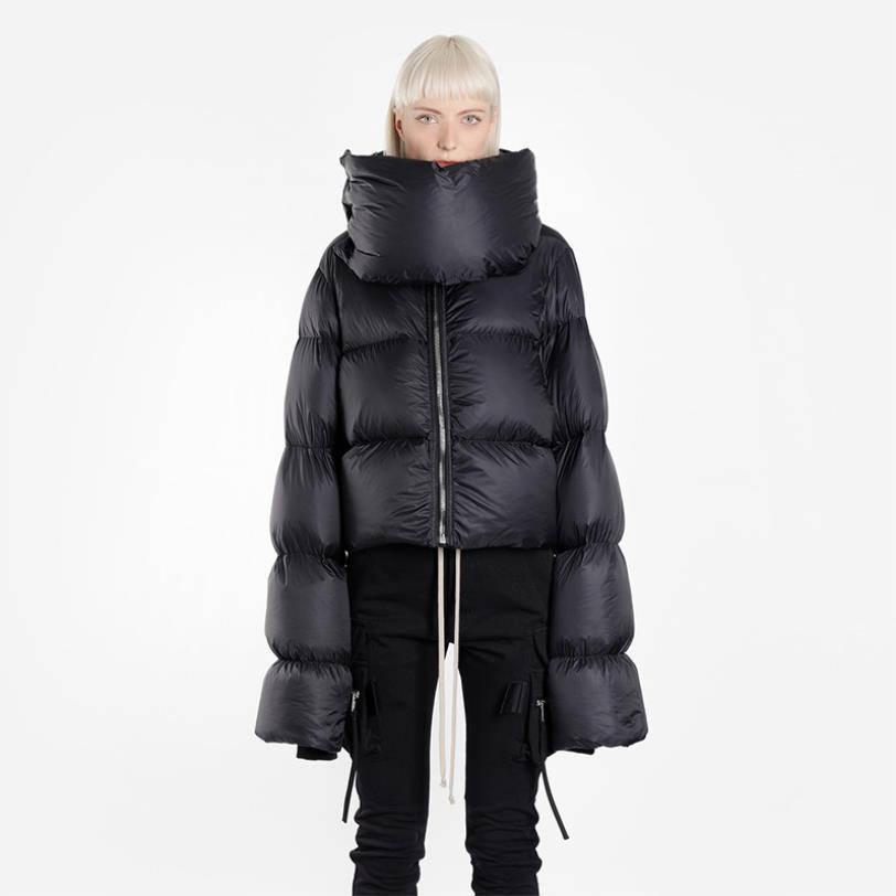 2018 winter new fashion brand Bib high neckline short   down     coats   female 99% White duck   down   long sleeve   coats   outerwear gx1621