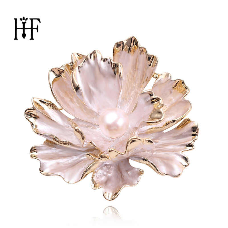 Alloy Flower Broche Faux Pearls Brooch Crystal Pin Brooches Wedding Party Jewelry Gift Brooches for Women Clothes Accessories
