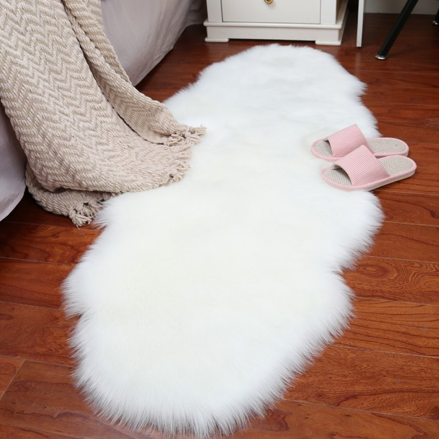 Bedroom Chair With Blanket Compact Table And Chairs Artificial Wool Carpet Long Hair Rug Decorative Bedside Bed White Faux Sheep Skin Fur Tepetes