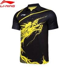 Li-Ning, мужские комплекты для настольного тенниса, дышащие футболки, комфортные шорты, комплекты для соревнований, лайкровая подкладка, спортивные комплекты AQCG025