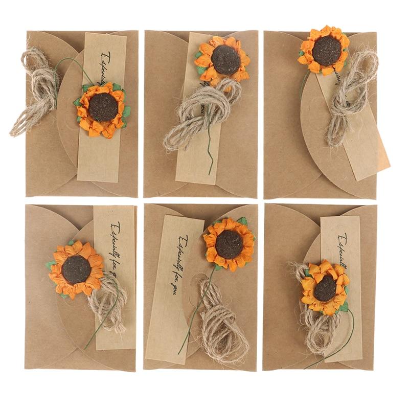 Floral Wedding Card Manufacturer From Hosur: Aliexpress.com : Buy 6pcs Dry Flower Kraft Paper Greeting